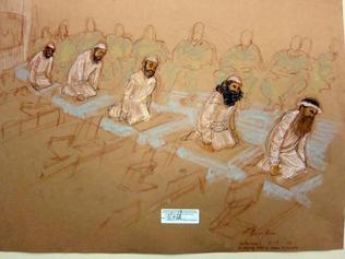 Left to right: Mustafa al Hawsawi, Ammar al Baluchi, Ramzi bin al Shibh, Walid Bin Attash and Khalik Sheik Mohammad, pray at their arraignment Saturday, May 5, 2012. Sketch reviewed and approved for release by a U.S. military security official. JANET HAMLIN ILLUSTRATION / JANET HAMLIN, SKETCH ARTIST