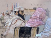 In this pool photo of a Pentagon-approved sketch by court artist Janet Hamlin, defendant Ramzi Bin al Shibh, center, attends his pretrial hearing along with other defendants at the Guantánamo Bay U.S. Naval Base in Cuba, Monday, April 14, 2014. From right to left are Mustafa al Hawsawi, partially cut off, Ali Abdul Aziz Ali, Bin al Shibh, Walid bin Attash and Khalid Sheik Mohammad. JANET HAMLIN / ASSOCIATED PRESS